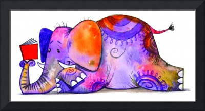 Colorful Elephant Reading A Book