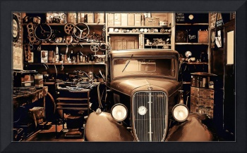 Copper Antique Car in Garage