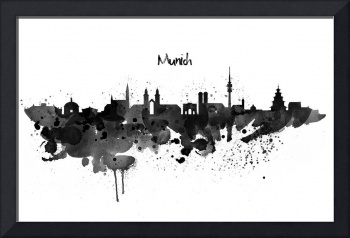 Munich Skyline Silhouette Watercolor painting BW