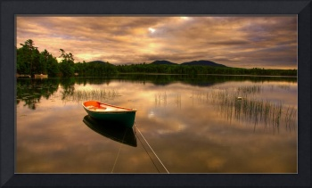 Small row boat on a Bar Harbor lake