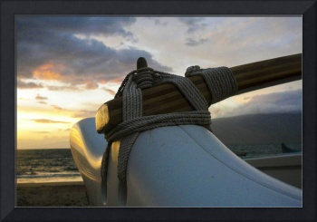 outrigger canoe at sunset 5