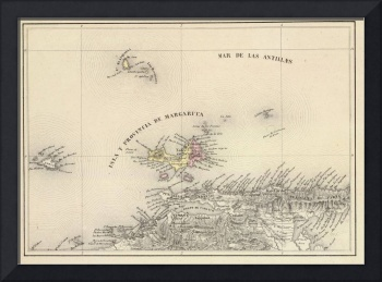 Vintage Map of Margarita Province (1850)