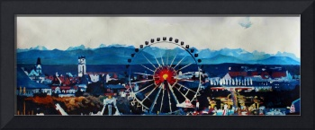 Munich Oktoberfest with wheel and alps panorama