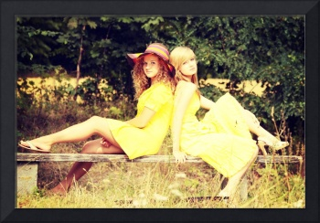 2 teen woman relaxing on sunny summer vacation day