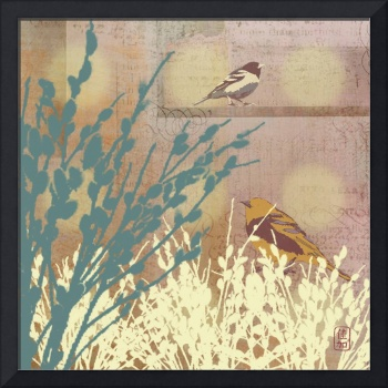 Birds with Rosegold Pussy WIllow Illustration