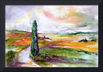 Tuscany Summer Landscape  Watercolor by Ginette