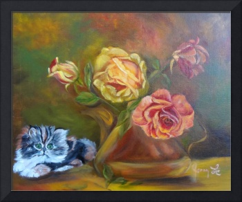 Kitten in the Roses