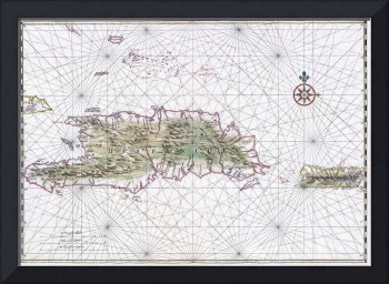 Vintage Map of Hispaniola (1639)