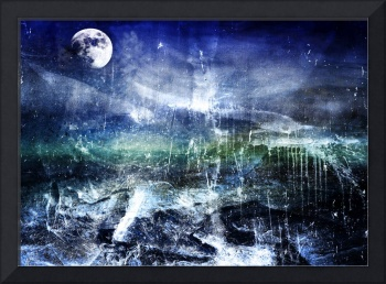 Abstract Moonlit Seascape Painting 36a