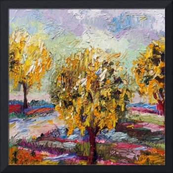 Gold Chain Trees Garden Oil Painting by Ginette