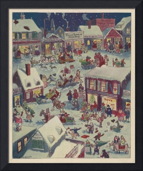 Vintage Christmas Town Folk Illustration (1918)