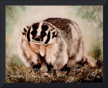 Badger in the mist painting