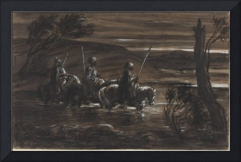 Alexandre-Gabriel Decamps~Three Arab Horsemen Cros