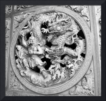 Stone carving on the wall of a Chinese temple