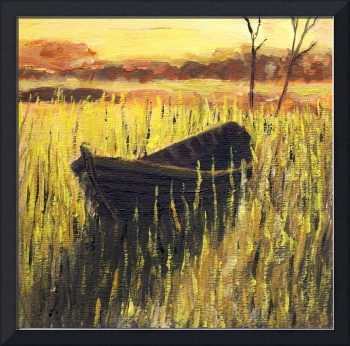 Old Wooden Boat in The Reeds