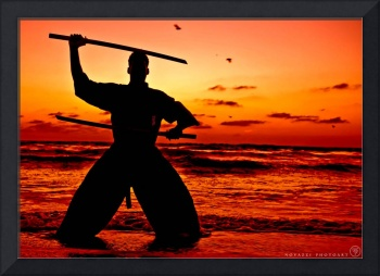 Martial Arts Man Sunset Silhouette with Dual Sword