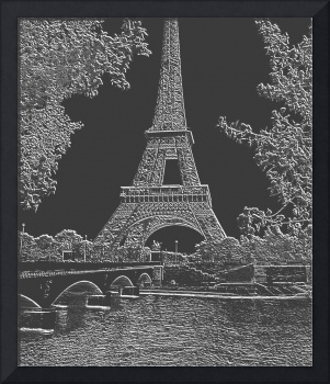 Eiffel Tower Seine River Light Grey Neg Charcoal C