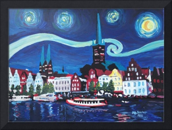 Starry Night in Luebeck Germany with Van Gogh Insp