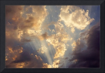 Sunset Sun Rays Art prints Blue Sky Clouds Orange