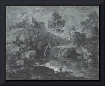 Mountain Landscape with a Castle and a Boatman, Th