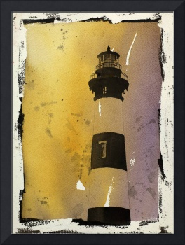 Watercolor painting of Bodie Island lighthouse- NC