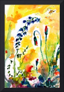 Wildflowers Provence Watercolor and Ink