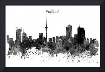 Auckland Black and White Watercolor Skyline