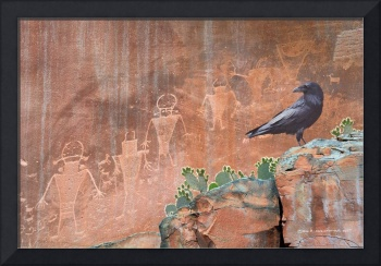 capitol reef petroglyphs with raven