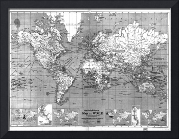 Black and White World Map (1918)