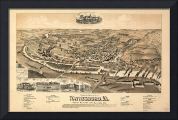 Vintage Pictorial Map of Waynesboro VA (1891)