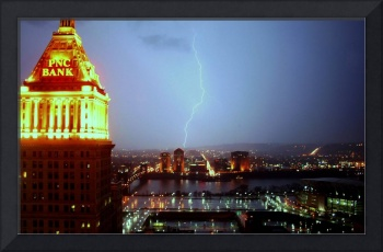 PNC Bank Building With Lightning - Cincinatti, OH