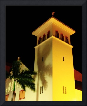 Island Church and Palm at Night, Philipsburg, St.