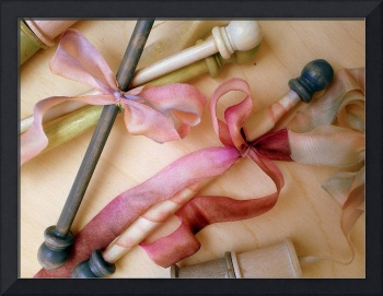 Handpainted Bobbins and Spools with Silk Ribbons