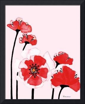 Expressive Wild Red and Pink Poppy Field w3d
