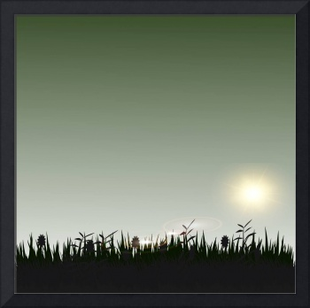 a silhouette of grasses