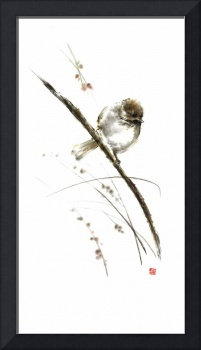 Bird painting sparrow watercolor flower summer pos