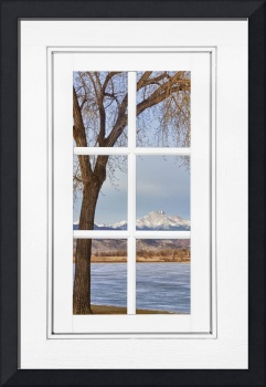 Longs Peak Winter View Through a White Window Fram