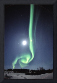Full Moon With Aurora In Yellowknife, Nwt