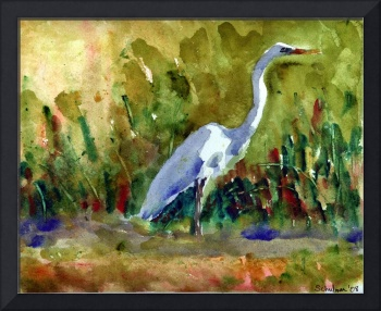 White Egret, White Bird Watercolor Painting Wildli