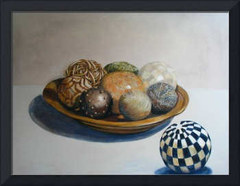 'Wooden Bowl with Spheres'