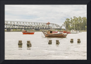 Boats at Santa Lucia River in Montevideo Uruguay