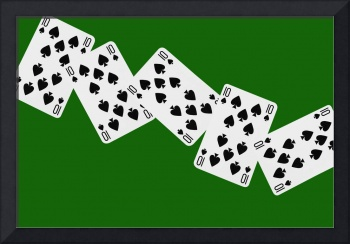Playing Cards Ten of Spades on Green Background