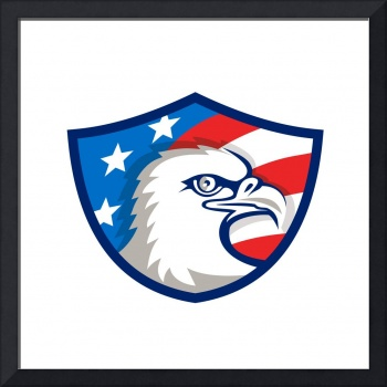 Bald Eagle Head USA Flag Shield Retro