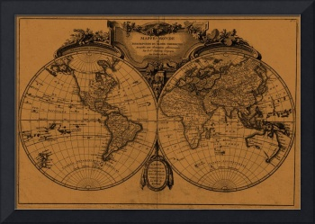 World Map (1775) Light Brown & Black