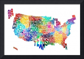 United States Typography Text Map