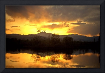 Majestic Sunset Reflections On Golden Ponds