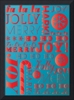 falala holiday card typeography candy red and roya