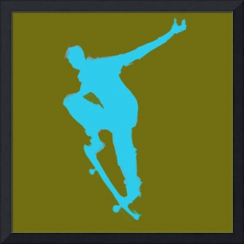 Skateboarder 1 . green blue (c)