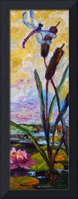 Dragonfly on Cat Tails Lily Pond Magic Oil Paintin