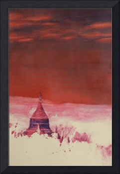 Fine art painting of ruined temple-Bagan, Myanmar